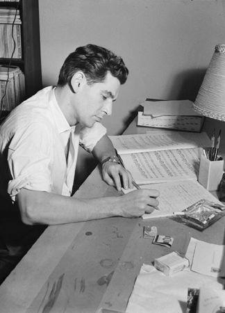 Portrait of Leonard Berstein in His Apartment, New York, NY, c. 1946-1948, 14 x 11 Silver Gelatin Photograph