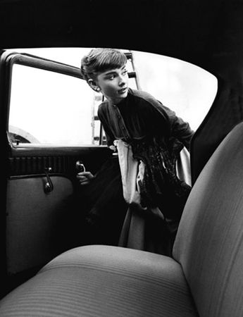 Audrey Hepburn getting into car, Paramount Studios, 1953