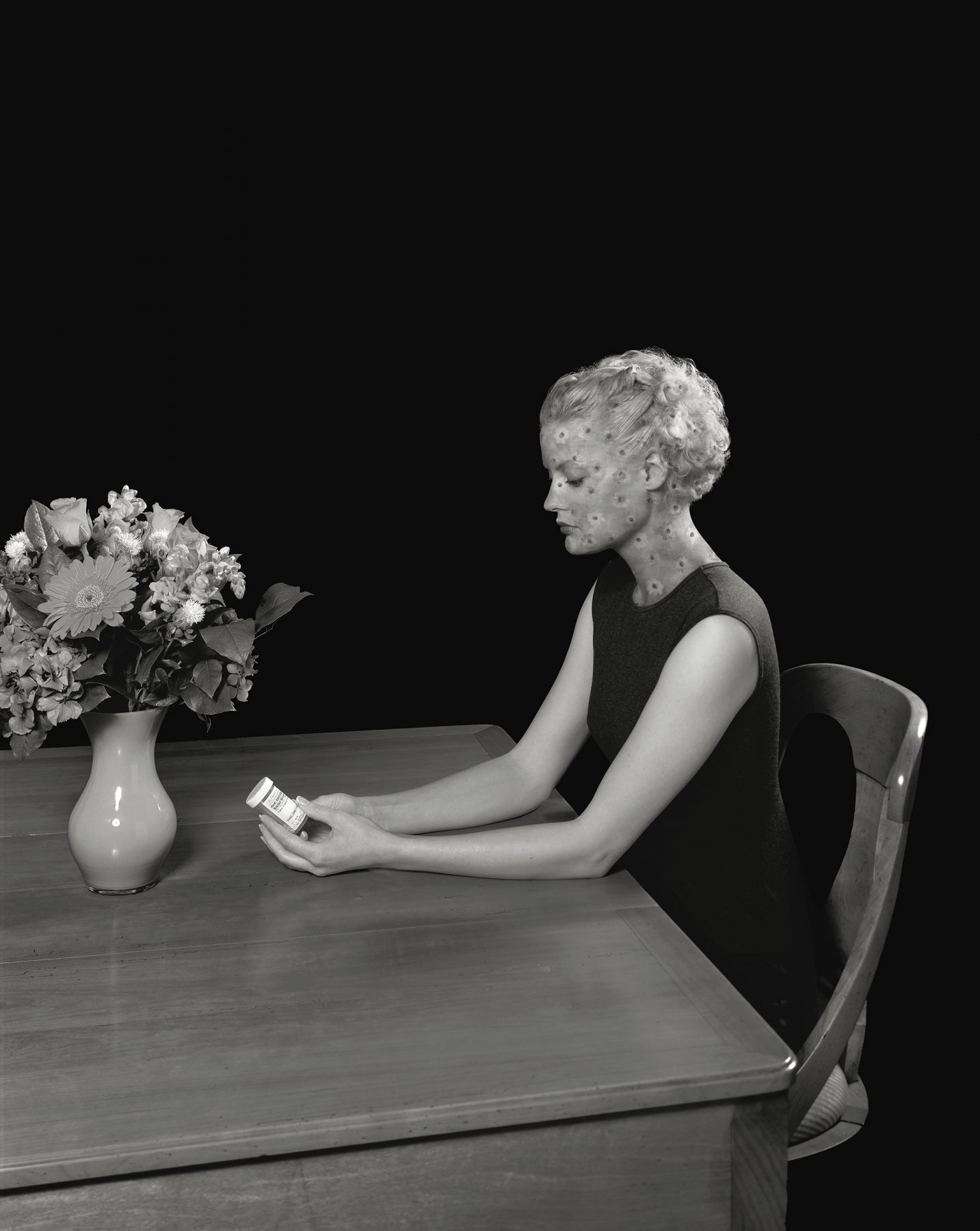 Woman at Desk with Flowers, 1999, Archival Pigment Print