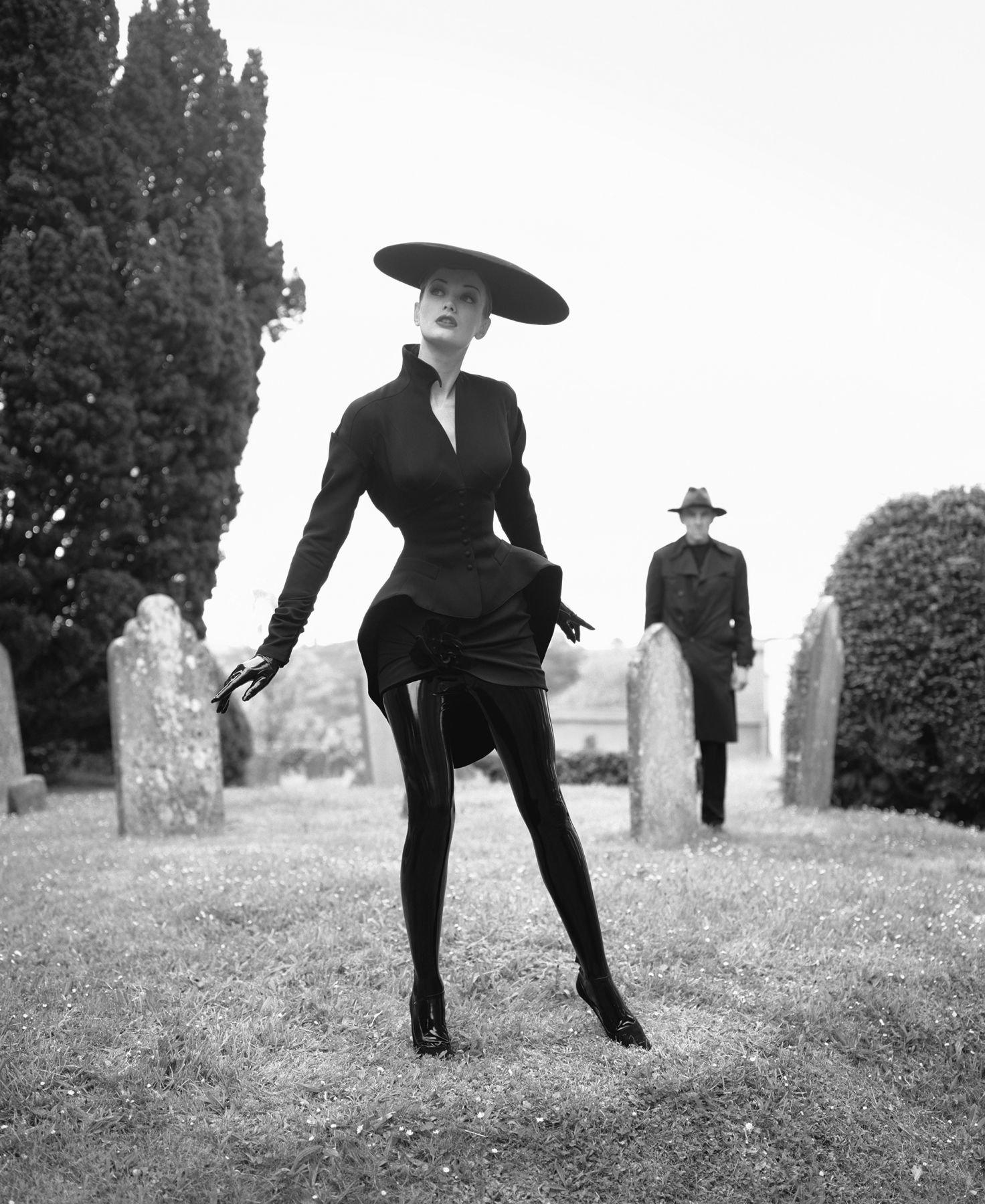 Model Watched in Cemetery, England, 1995, Archival Pigment Print