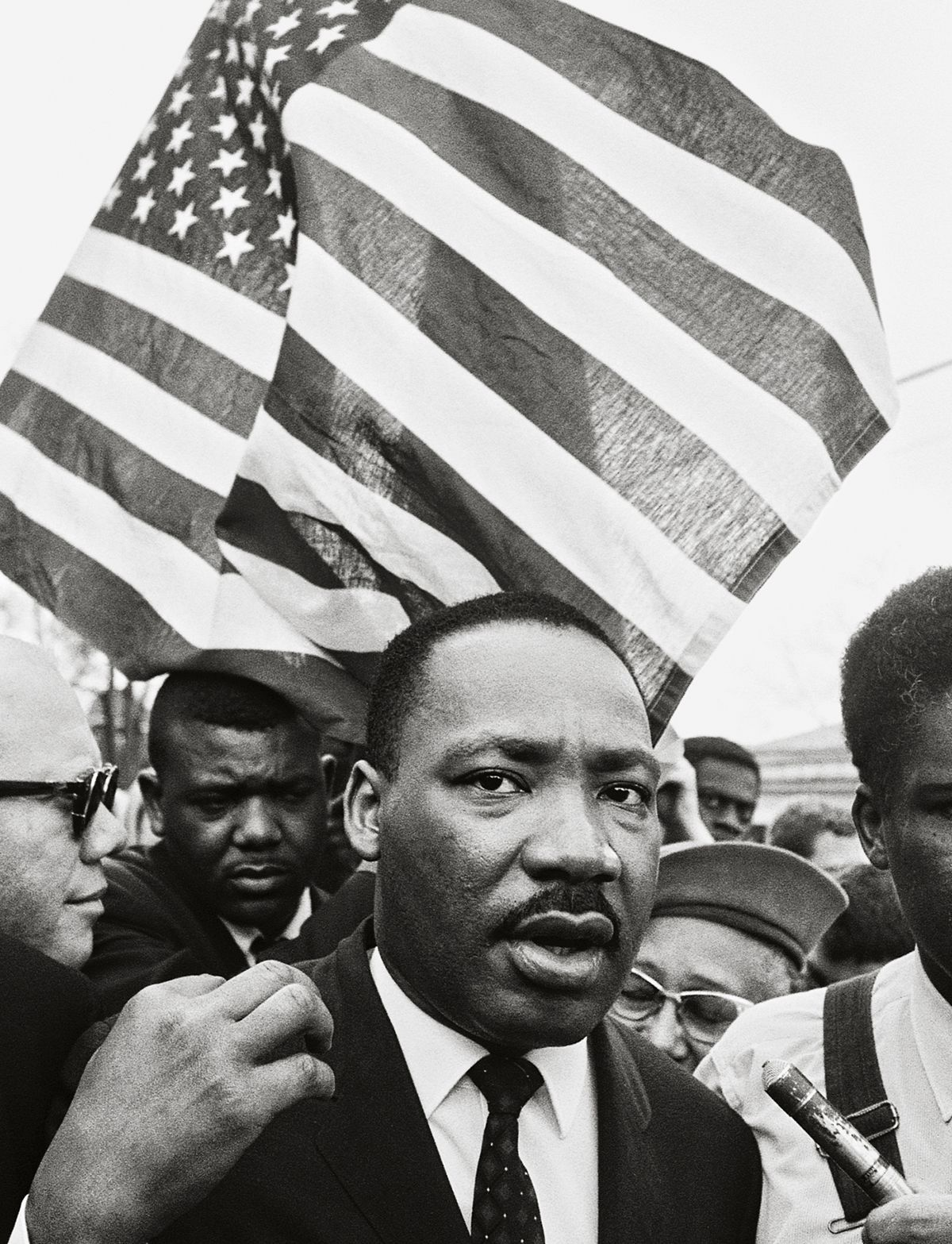 Martin Luther King Jr. (With Flag), Selma March, 1965, 20x 16Inches, Silver Gelatin Photograph, Edition of 25