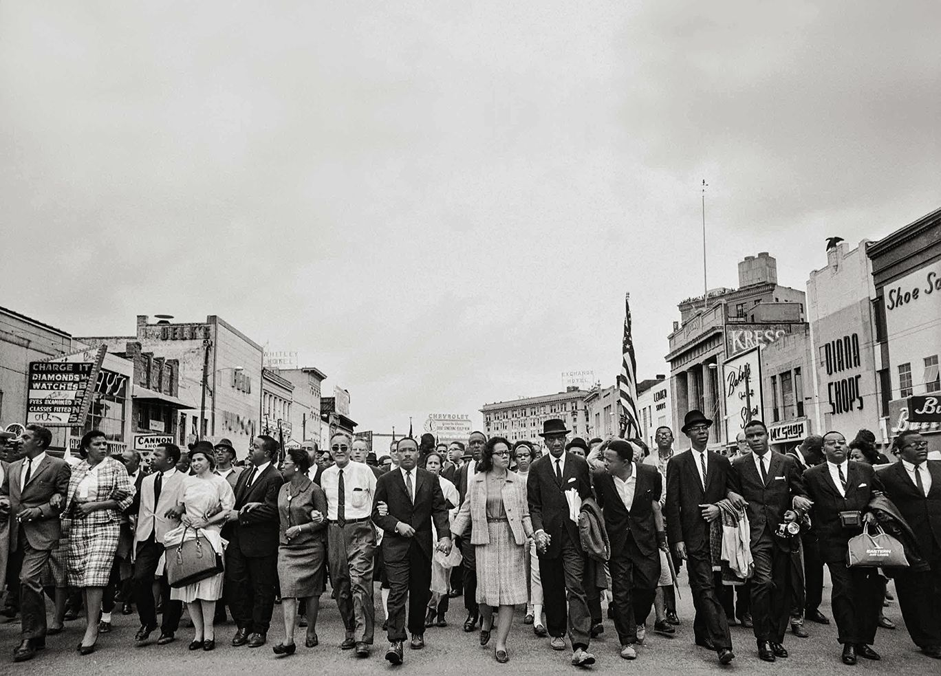 Dr. Martin Luther King Jr., His Wife, Coretta, Rosa Parks, and Other Activists March for Voting Rights, 1965, 16 x 20 Inches, Silver Gelatin Photograph, Edition of 25
