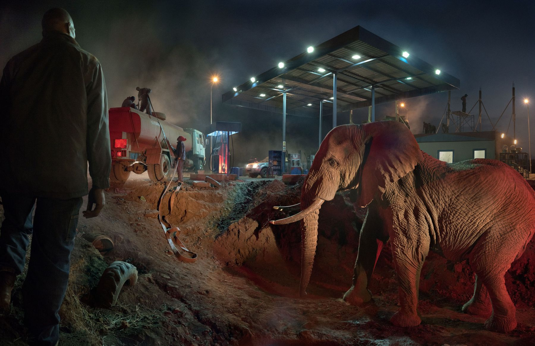 PETROL STATION WITH ELEPHANT & WATER TRUCK, 2018,