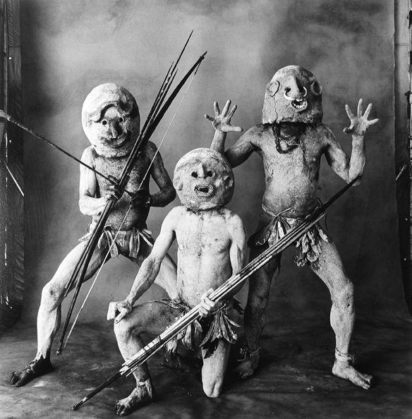 Three Asaro Mud Men (A), New Guinea, 1970, Silver Gelatin Photograph, Ed. of 25