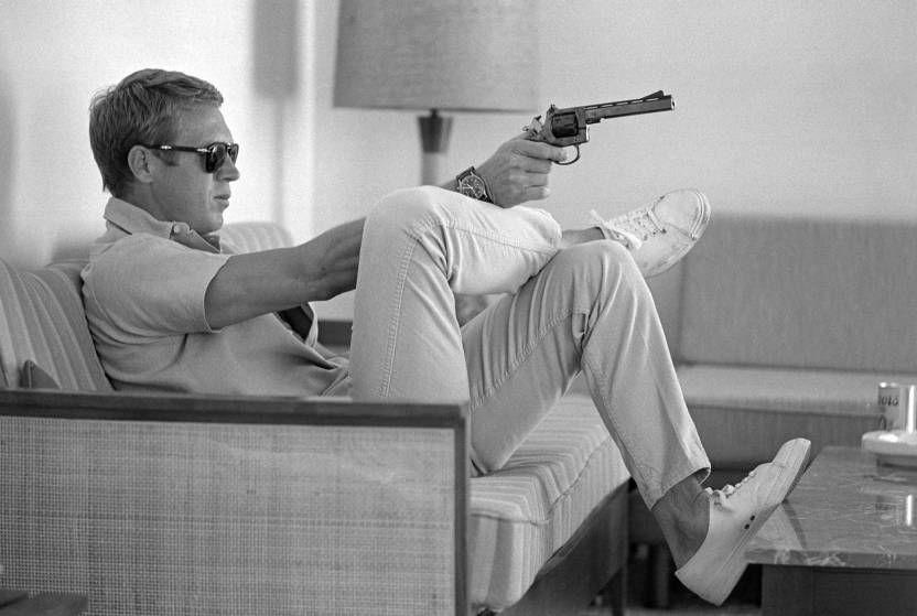 John Dominis Steve McQueen Aims a Pistol, Palm Springs, 1963