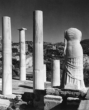 House and Statue of Cleopatra, Belos, Greece, 1938, 11 x 14 Silver Gelatin Photograph