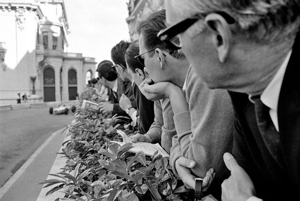 Spectators on Hotel de Paris Terrace, Monaco, 1966