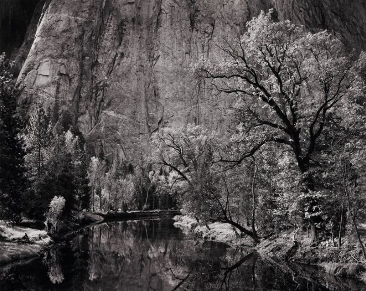 Ansel Adams, Merced River, Cliff, Autumn, Yosemite Valley, 1939