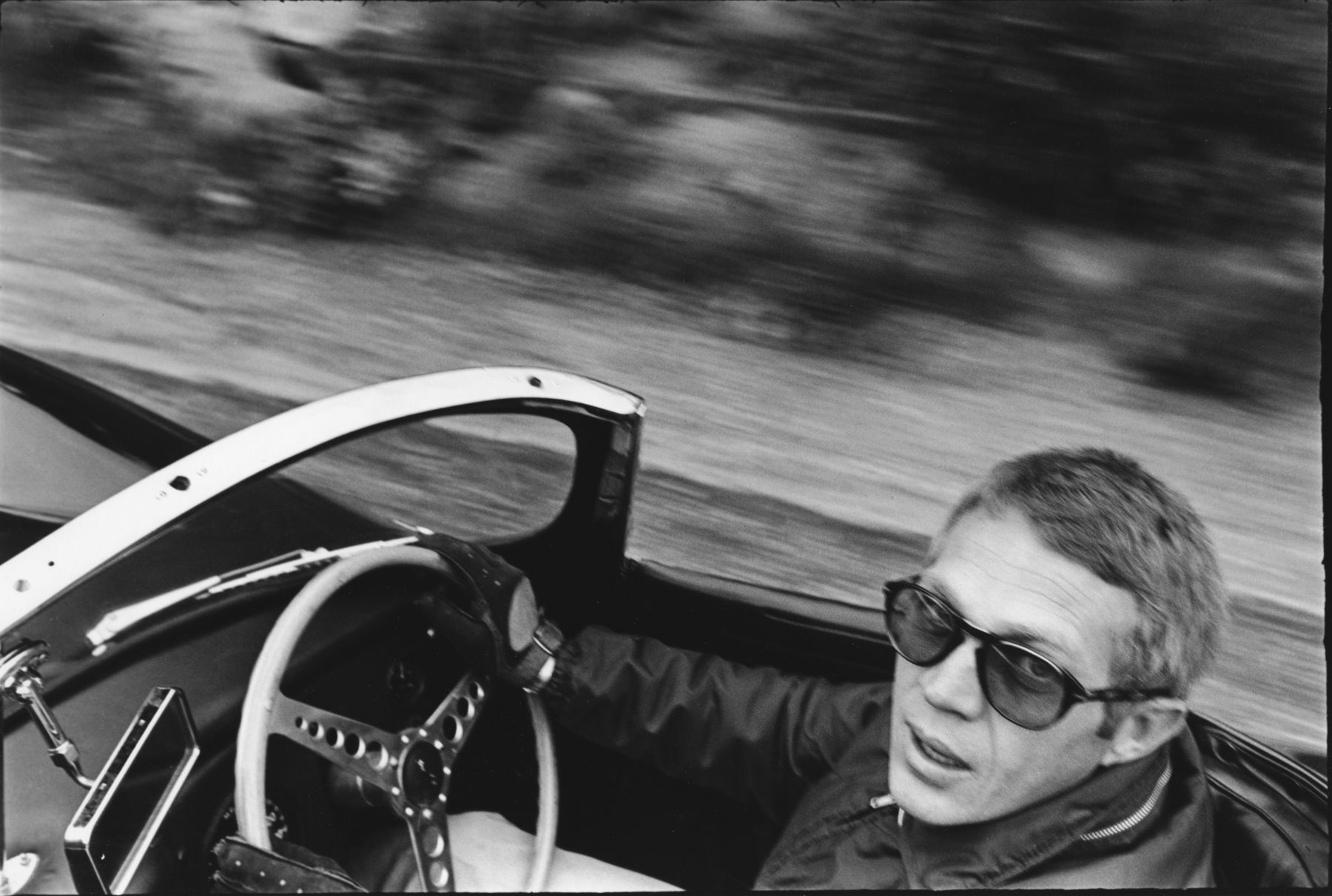 William Claxton Steve McQueen in His XK-SS Jaguar, Mulholland Drive, Los Angeles, 1962