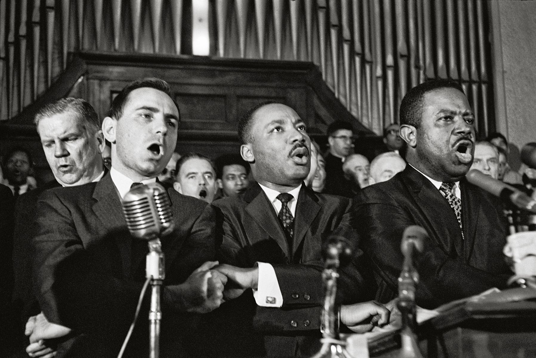 """King and Abernathy Sing """"We Shall Overcome,"""" Brown Church, Selma, 1965, 16 x 20 Inches, Silver Gelatin Photograph, Edition of 25"""