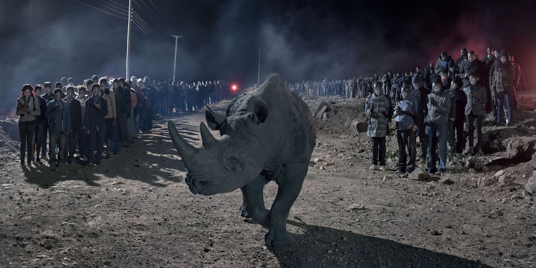 RIVER OF PEOPLE WITH BLIND RHINO, 2018,