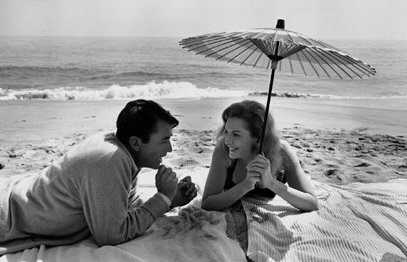 Gregory Peck & Deborah Kerr on the Malibu location of Beloved Infidel, 20th Century Fox Studios, 1959