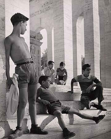 Boys Near the EUR, Rome, 1951, 11-5/8 x 9-1/4 Vintage Silver Gelatin Photograph