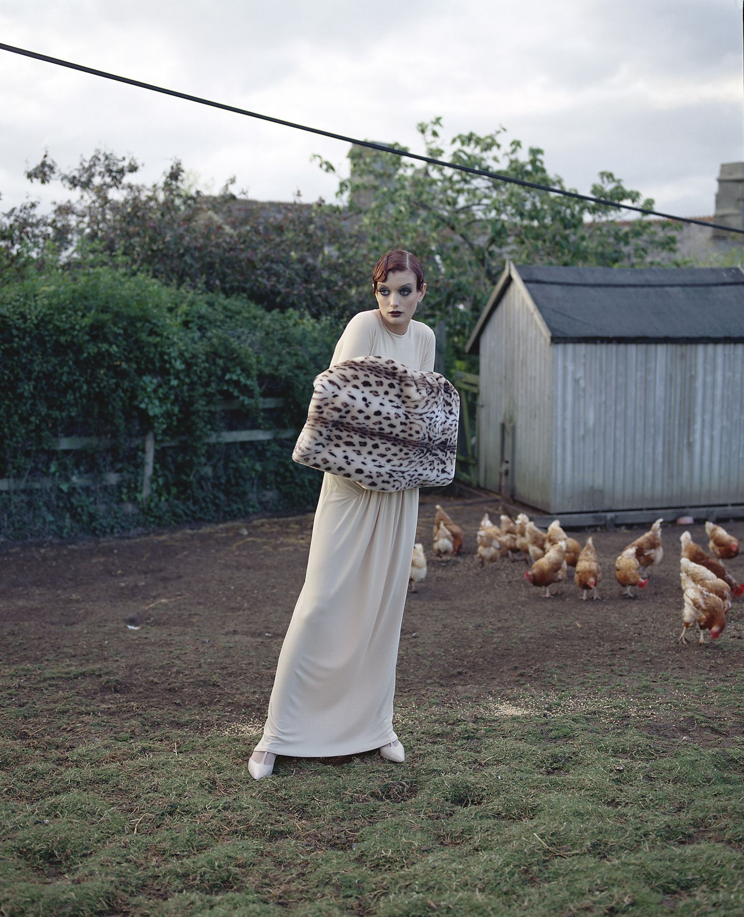 Model in the Hen Yard, England, 1995, Archival Pigment Print