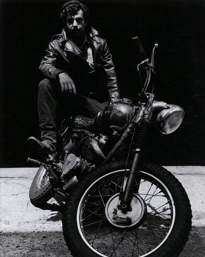 Copyright Danny Lyon / Magnum Photos, Self-Portrait, Behind my Apartment on Woodlawn Avenue, Hyde Park, from The Bikeriders, 1965