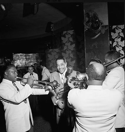 Portrait of Duke Ellington, Cat Anderson, and Sidney De Paris, Aquarium, New York, NY, c. November 1946, 14 x 11 Silver Gelatin Photograph
