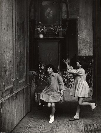 Playing Ball in an Entrance, Naples, 1959, 11-1/2 x 8-5/8 Vintage Silver Gelatin Photograph