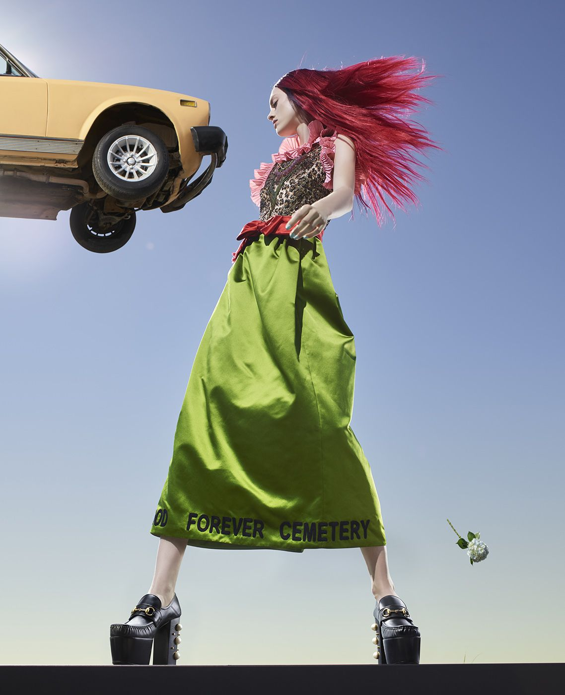 Fashion (with Flying Orange Car), Los Angeles, 2016, 40 x 32 1/2 Inches, Archival Pigment Print, Edition of 5