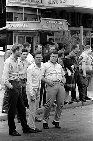 White hecklers yelling and gesturing at marchers, Selma to Montgomery Alabama Civil Rights March, March 24-26, 1965