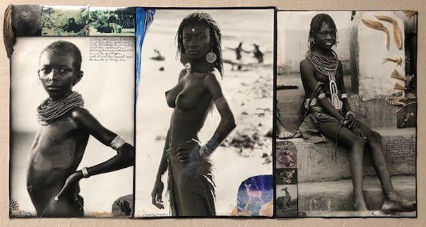 1960's Lake Rudolf + Lodwar, Silver Gelatin Photograph, Ink, Feather & Animal Remains