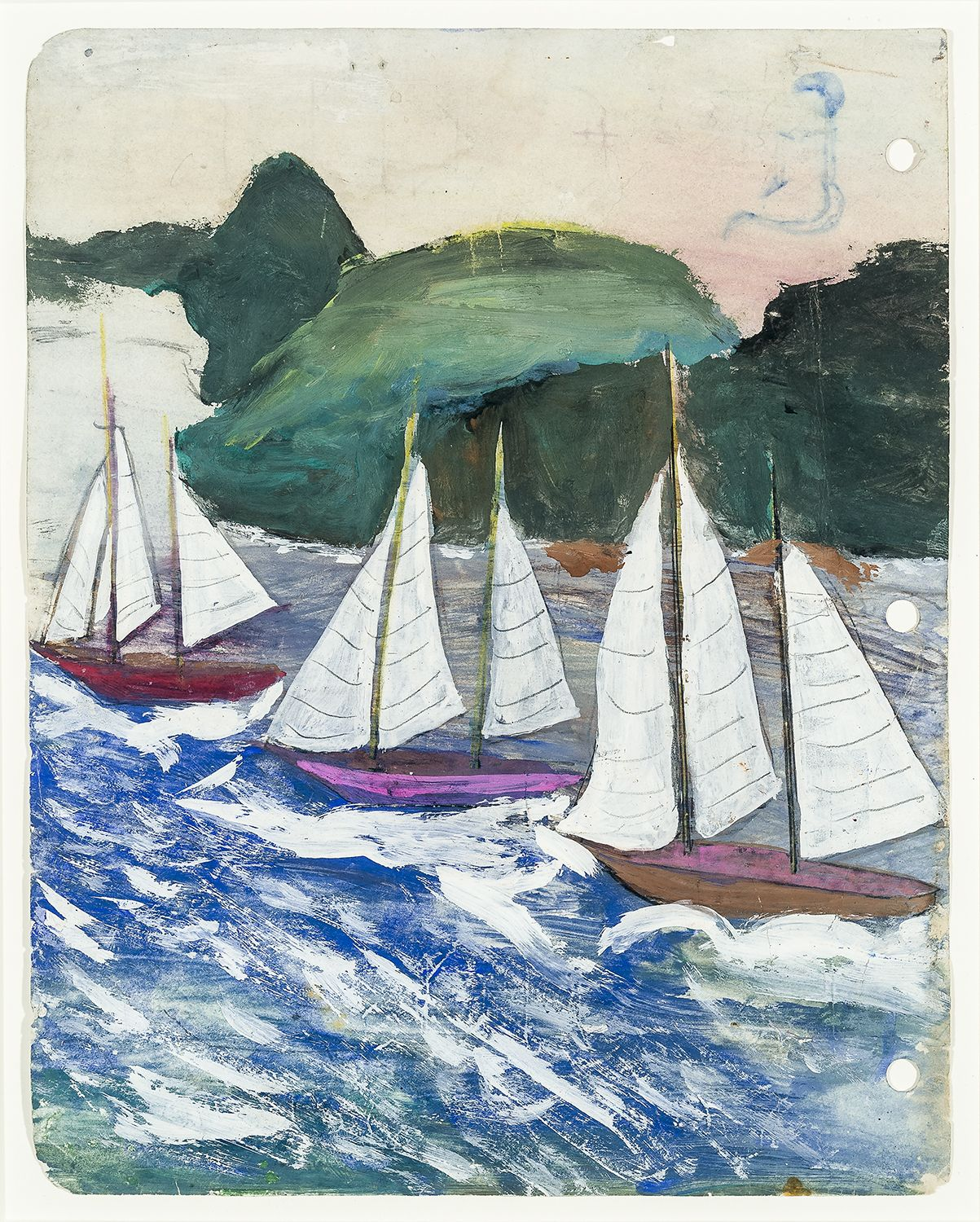 a painting by Frank Walter of boats sailing down a river