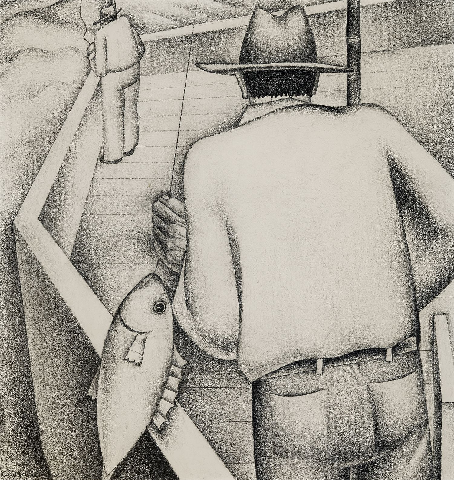 Fishermen, c. 1933, Graphite on paper, 15 x 15 in.