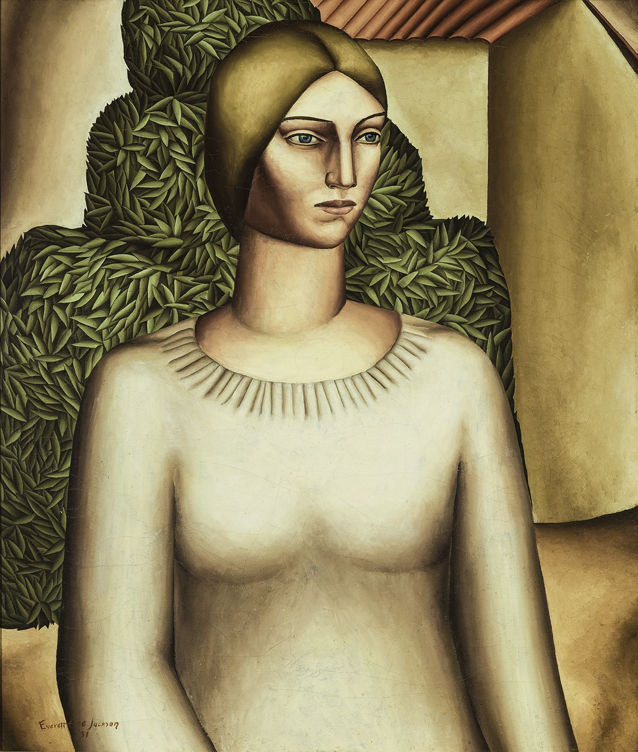 Girl with Acacia Tree, 1931, Oil on canvas, 27 x 23 in.