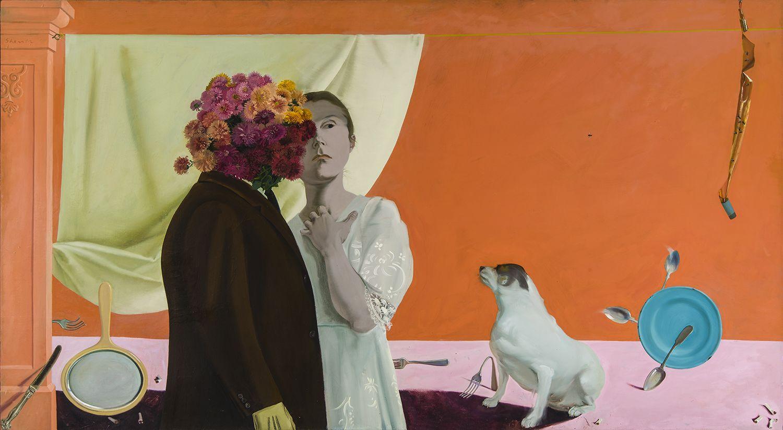 HONORÉ SHARRER (1920–2009), Nursery Rhyme, 1971. Oil on canvas, 49 x 89 in.