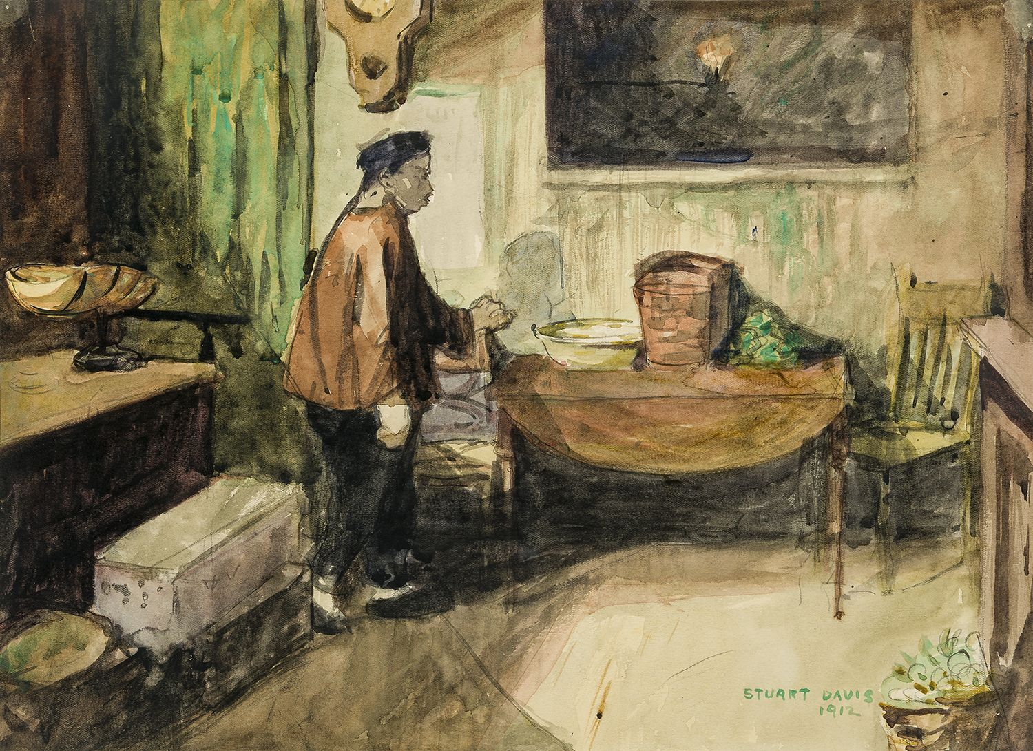 The Chinese Merchant, 1912, Watercolor and pencil on paper, 10 1/2 x 14 1/2 in.