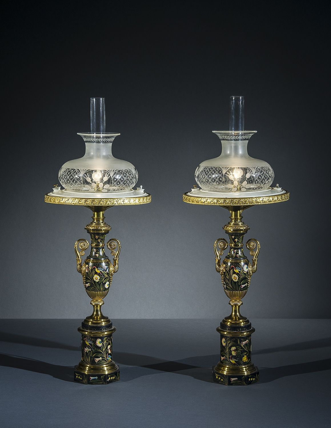 Pair Sinumbra Lamps in the Restauration Taste, about 1825