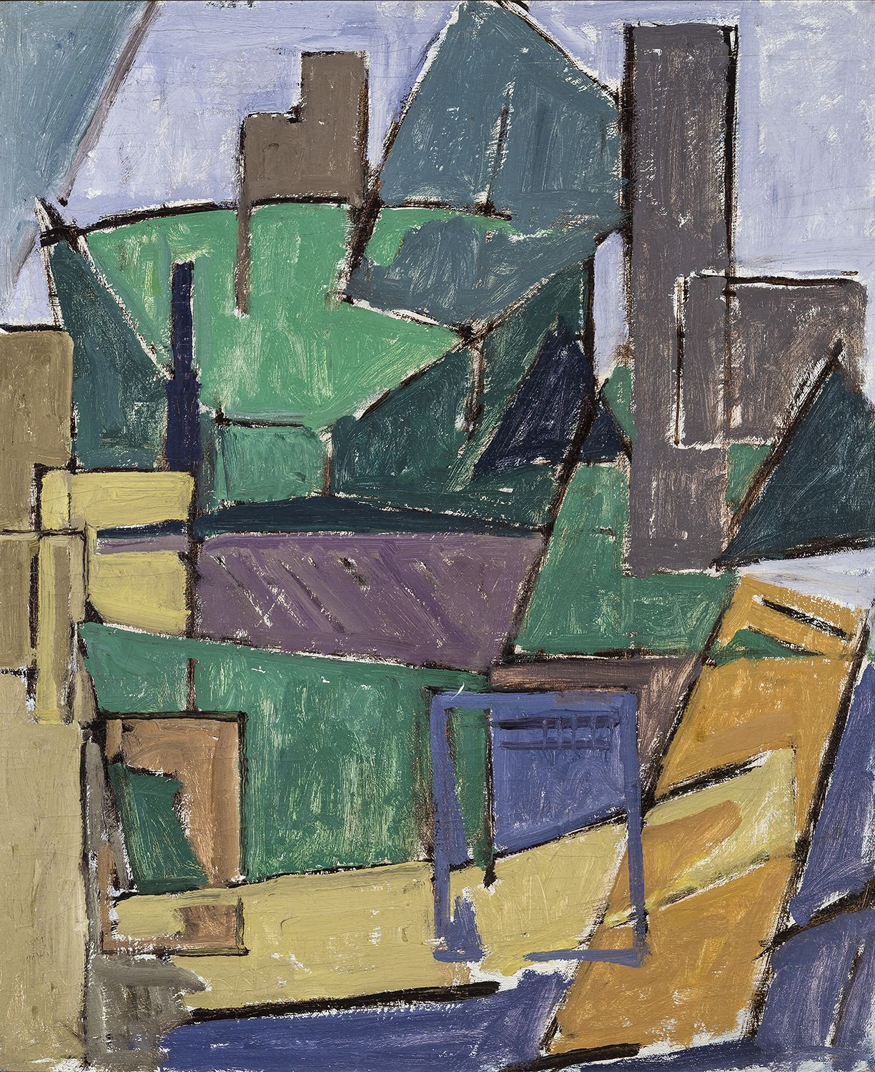 House and Tree Shapes, about 1916, Oil on canvas, 23 x 19 in.