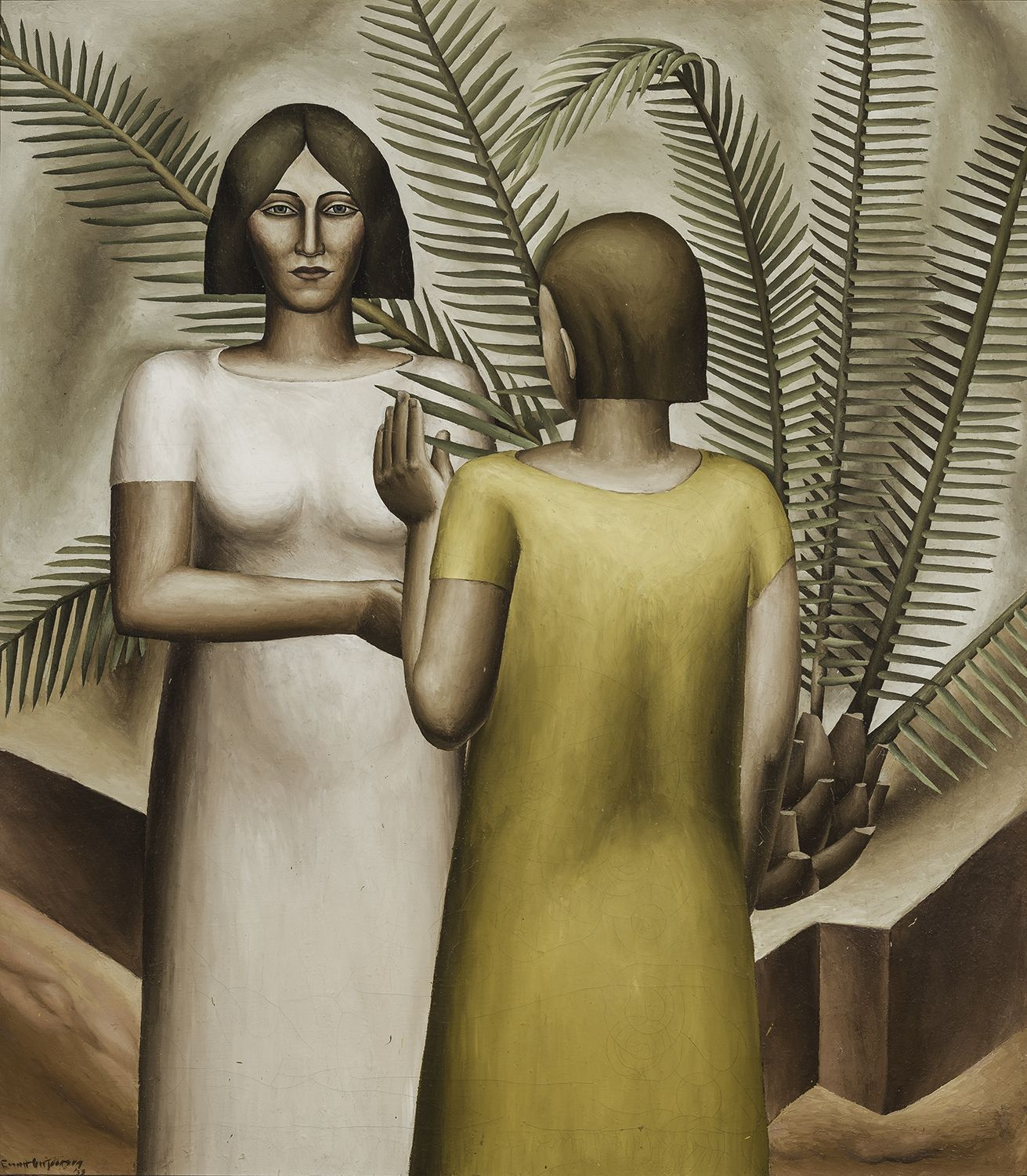 Two Girls and Palm, 1933, Oil on canvas, 36 1/2 x 32 in.