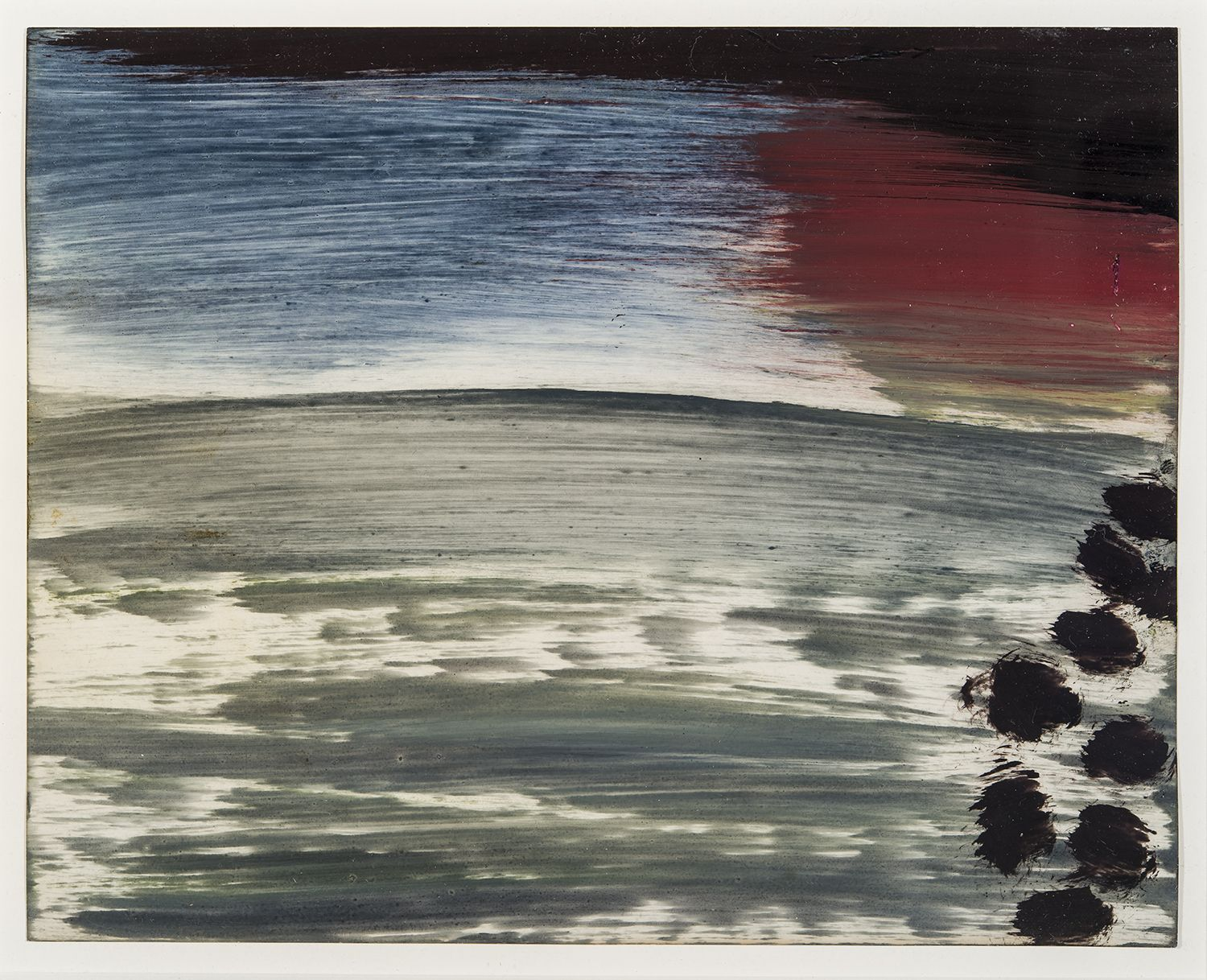 a highly abstract painting by Frank Walter of gray water with a darkening sky