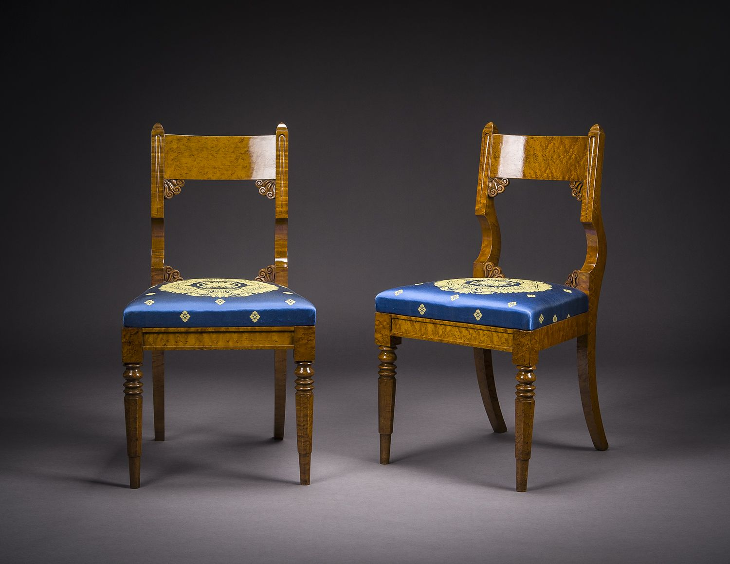 Set of Four Side, or Dining, Chairs, about 1825. Philadelphia, Pennsylvania. Curly maple, with upholstered slip seats. 34 7/8 in. high, 18 3/4 in. wide, 19 7/8 in. deep (overall)