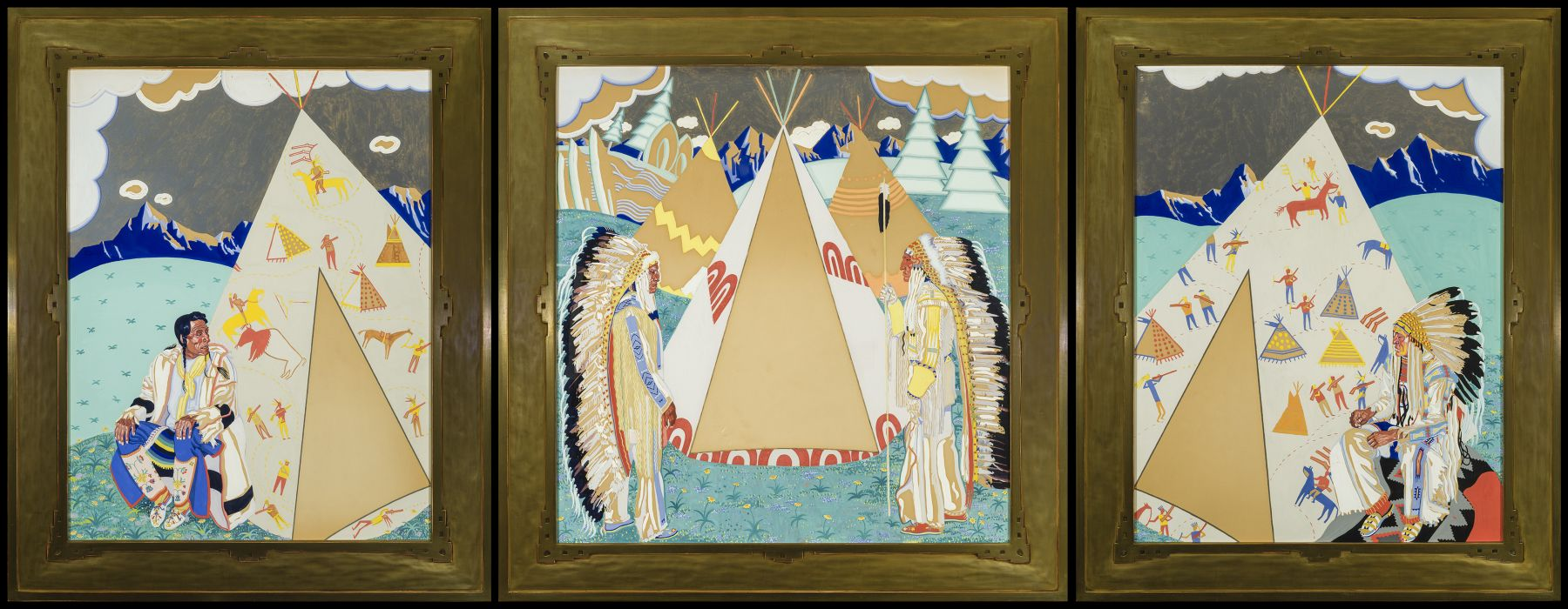 Winold Reiss (1886-1953), Triptych Design for a Mural Commission (Buffalo Hide [Eneseken, b. 1865], Bob Riding Horse, Chief Shot Both Sides [Aztua, 1874/77-1956], Mike Little Dog [Emetagua]), 1927-28