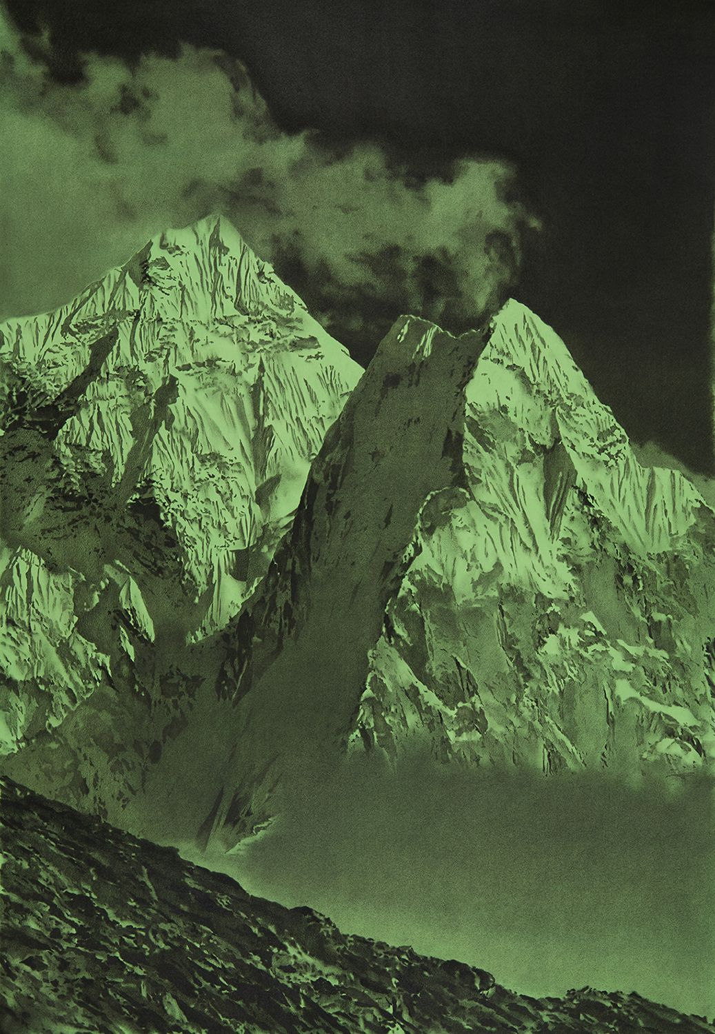 A highly-detailed image of Mt. Everest done in black on an electric green background.