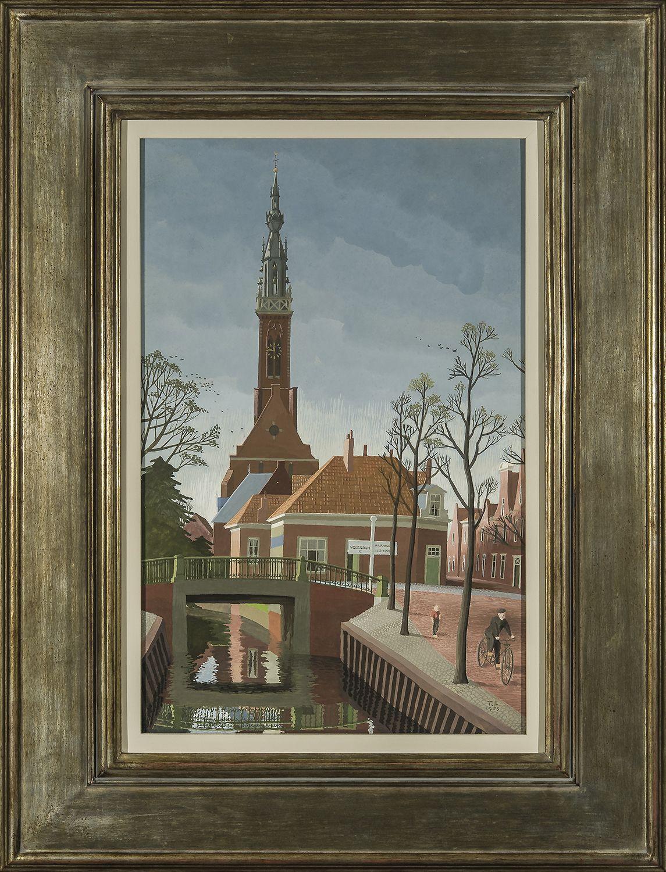 THOMAS FRANSIOLI (1906–1997). Edam, Holland, 1955. Gouache on paper board, 17 1/8 x 11 1/8 in.