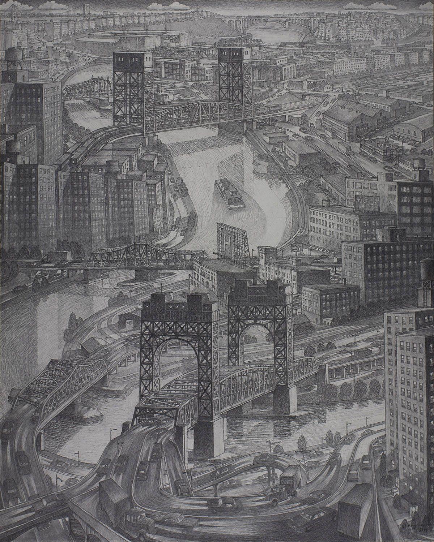 Douglas Cooper (b. 1946), Harlem River Bridges, 2014