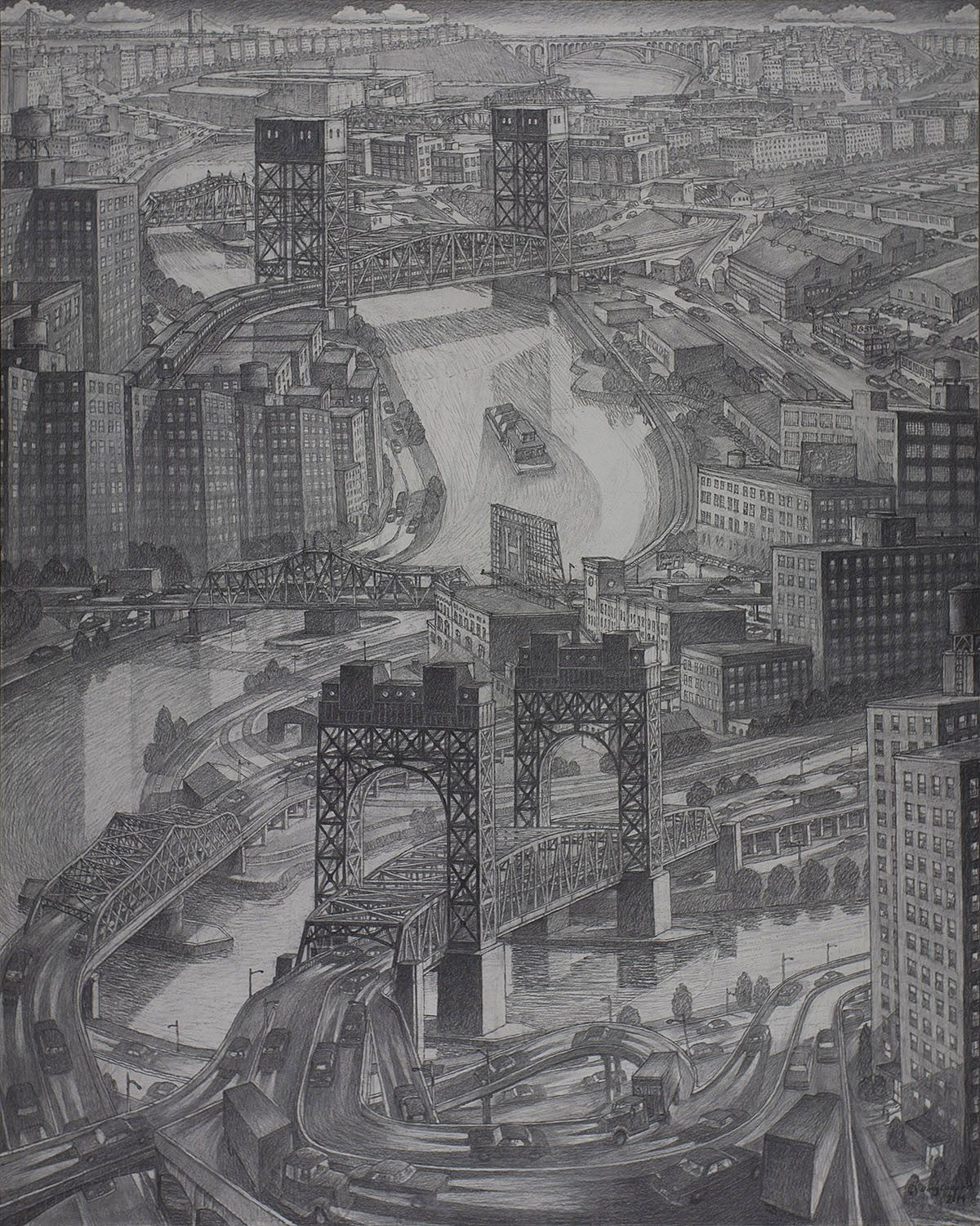 """Image of Douglas Cooper's """"Harlem River Bridges,"""" Charcoal on paper, mounted on board, 60 by 48 inches, created in 2014."""