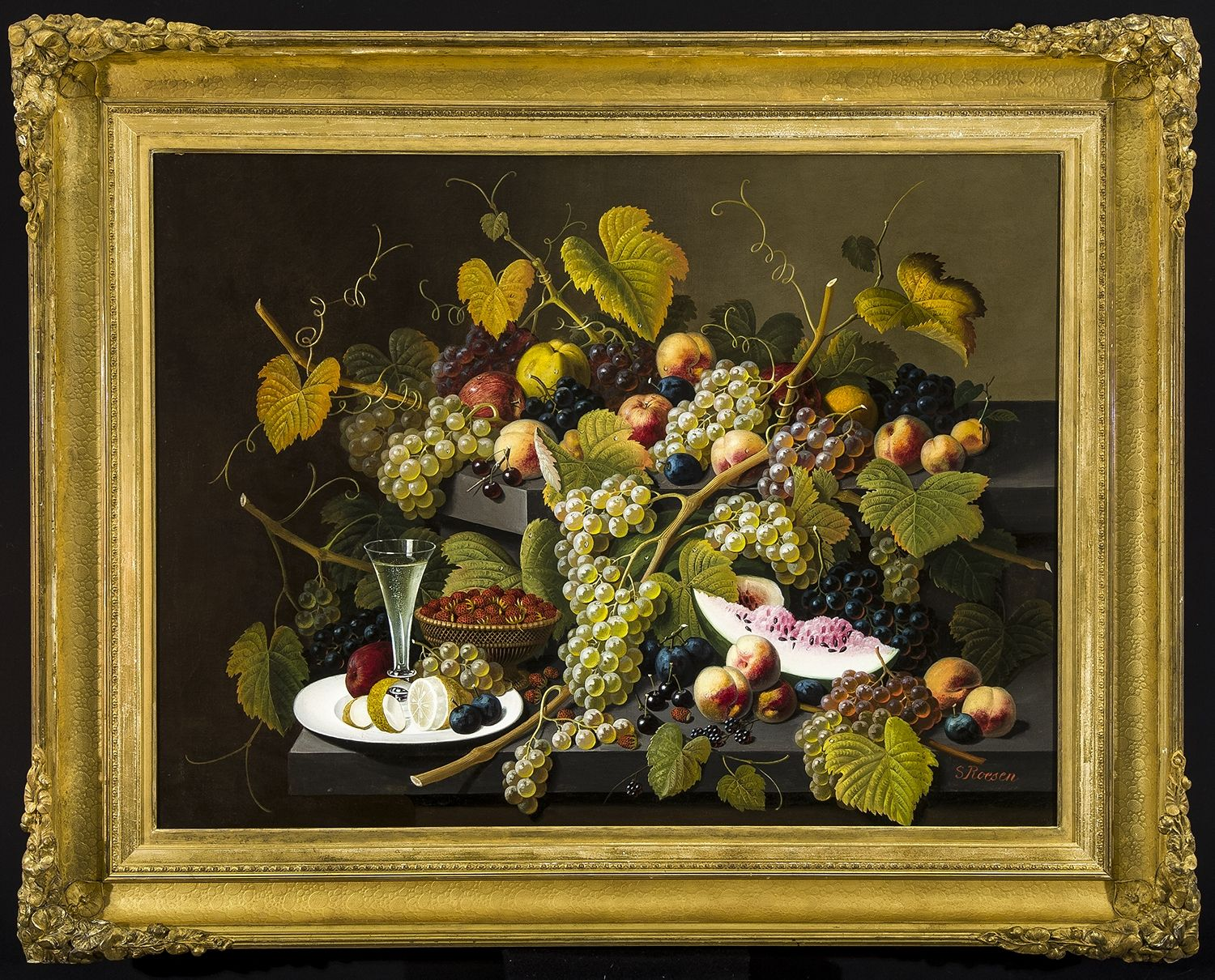 SeverinRoesen(1816–1872) Two-Tiered Still Life of Fruit, about 1857–72