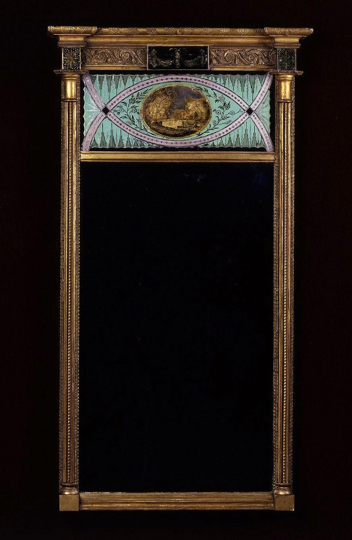 Pier Mirror with Eglomisé Panels, about 1800