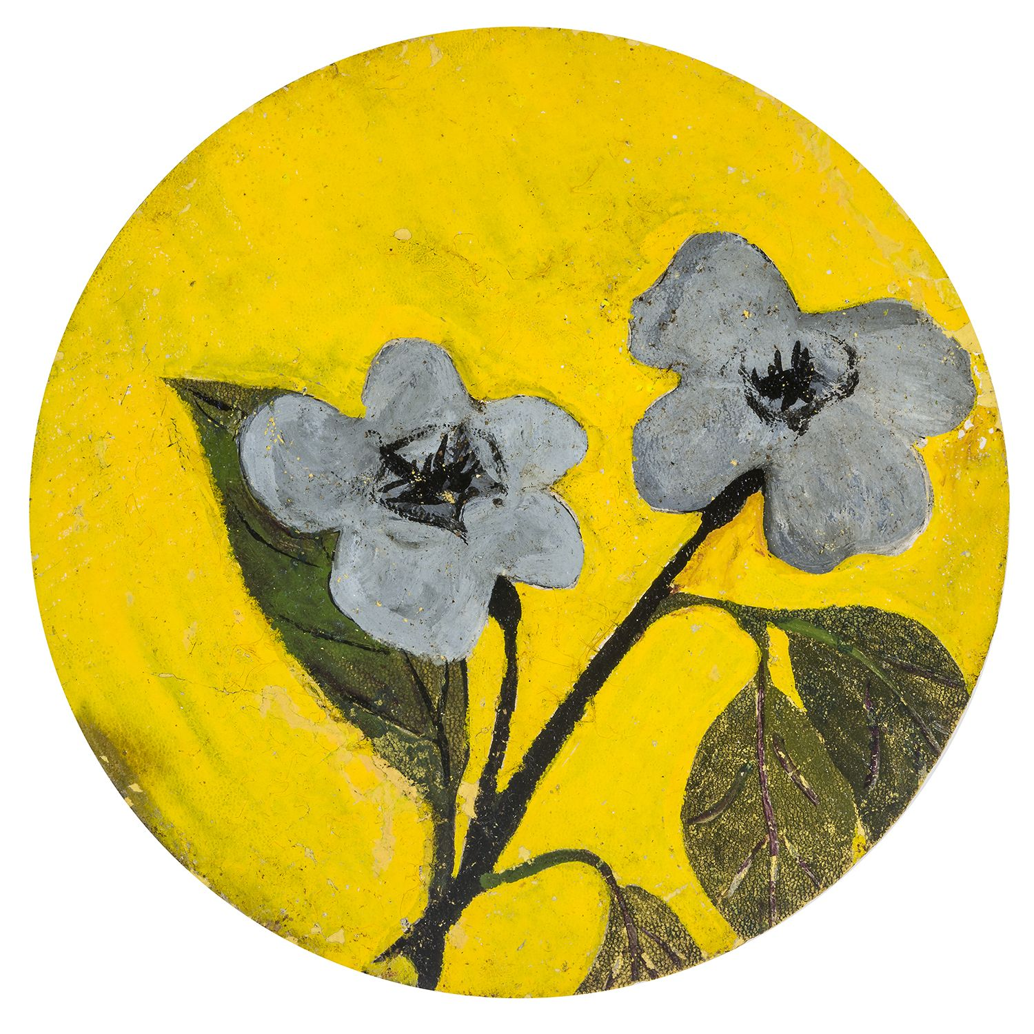 a tondo-painting by Frank Walter of flowers on a yellow background