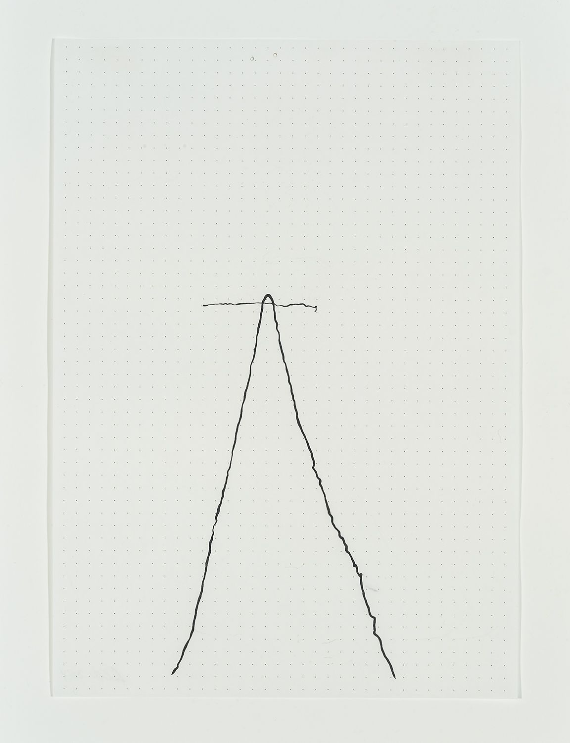 """Image of Lily Cox Richard's """"Untitled (small drawing number 1), hammered lead on paper, 8 1/4 by 5 7/8 inches. Drawn in 2014."""