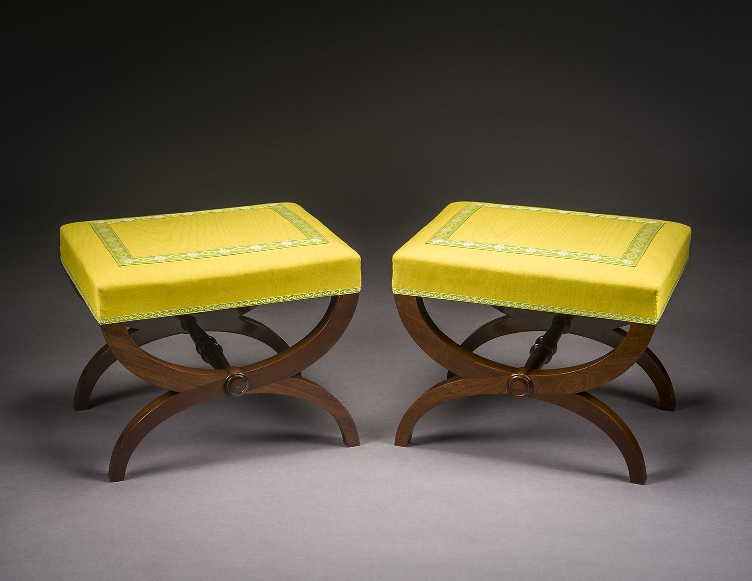 Pair Curule Benches, about 1830–35