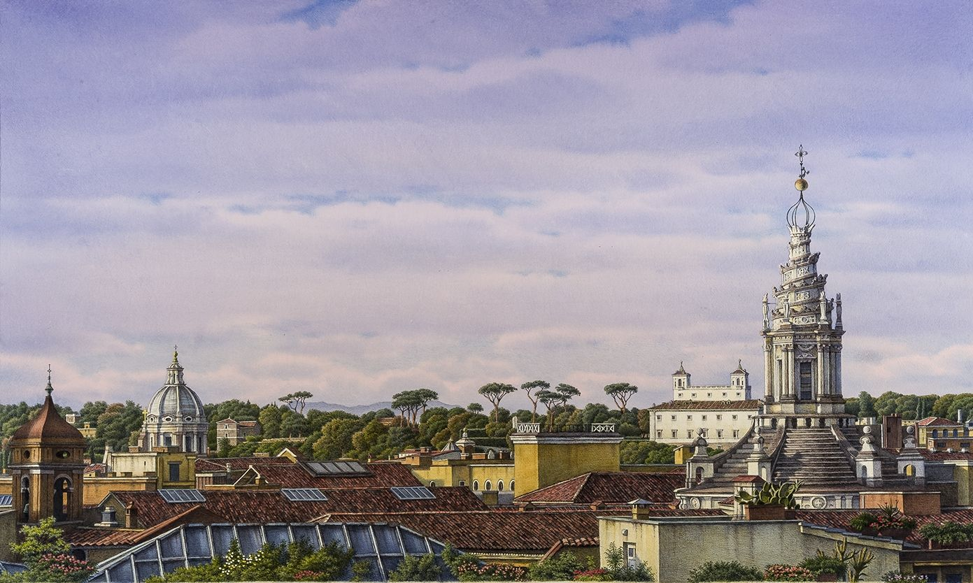 "Image of Frederick Brosen's ""Rome Rooftops 2"" Watercolor over graphite on paper, 30 by 50 inches. Painted in 2015."