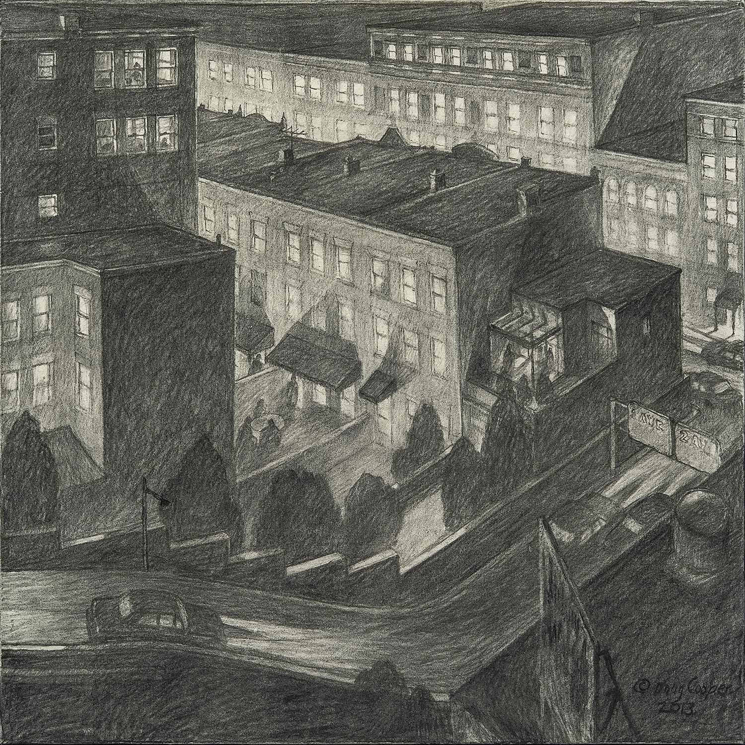 """Image of Douglas Cooper's """"Left Turn From the Viaduct,"""" charcoal on paper mounted on board, 24 by 24 inches, created in 2013."""