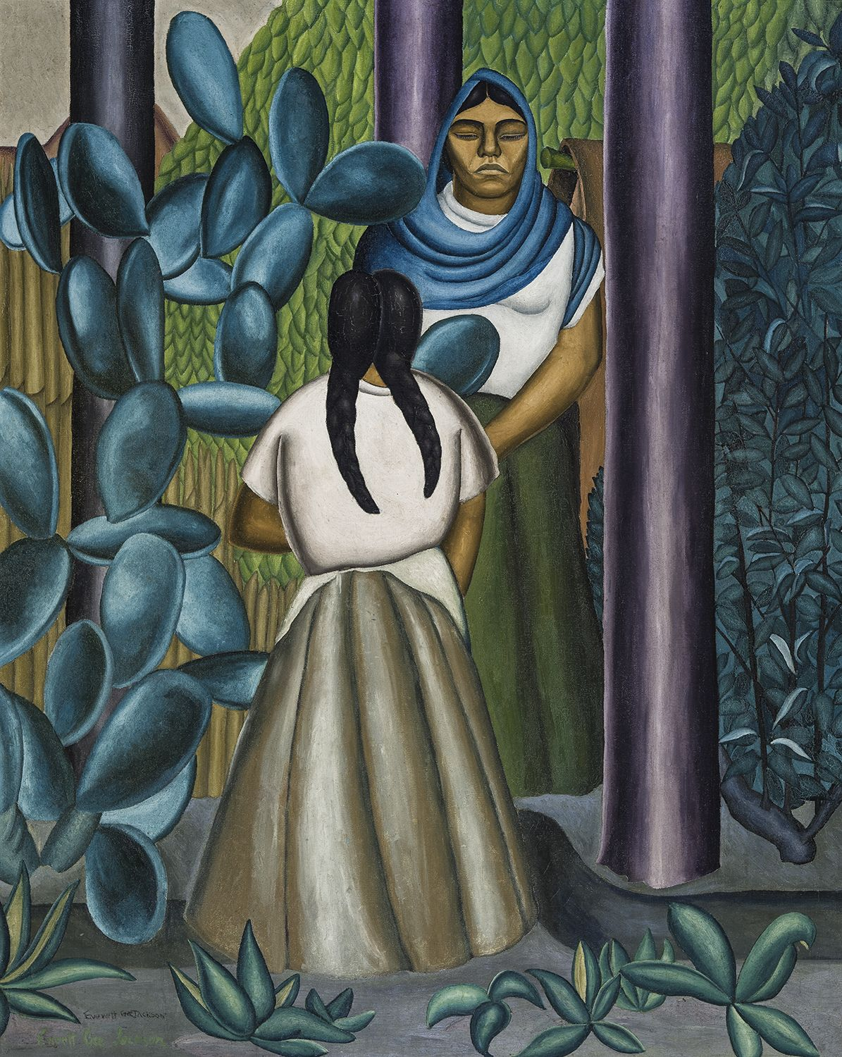 Women with Cactus, c. 1928, Oil on canvas, 45 x 36 in.