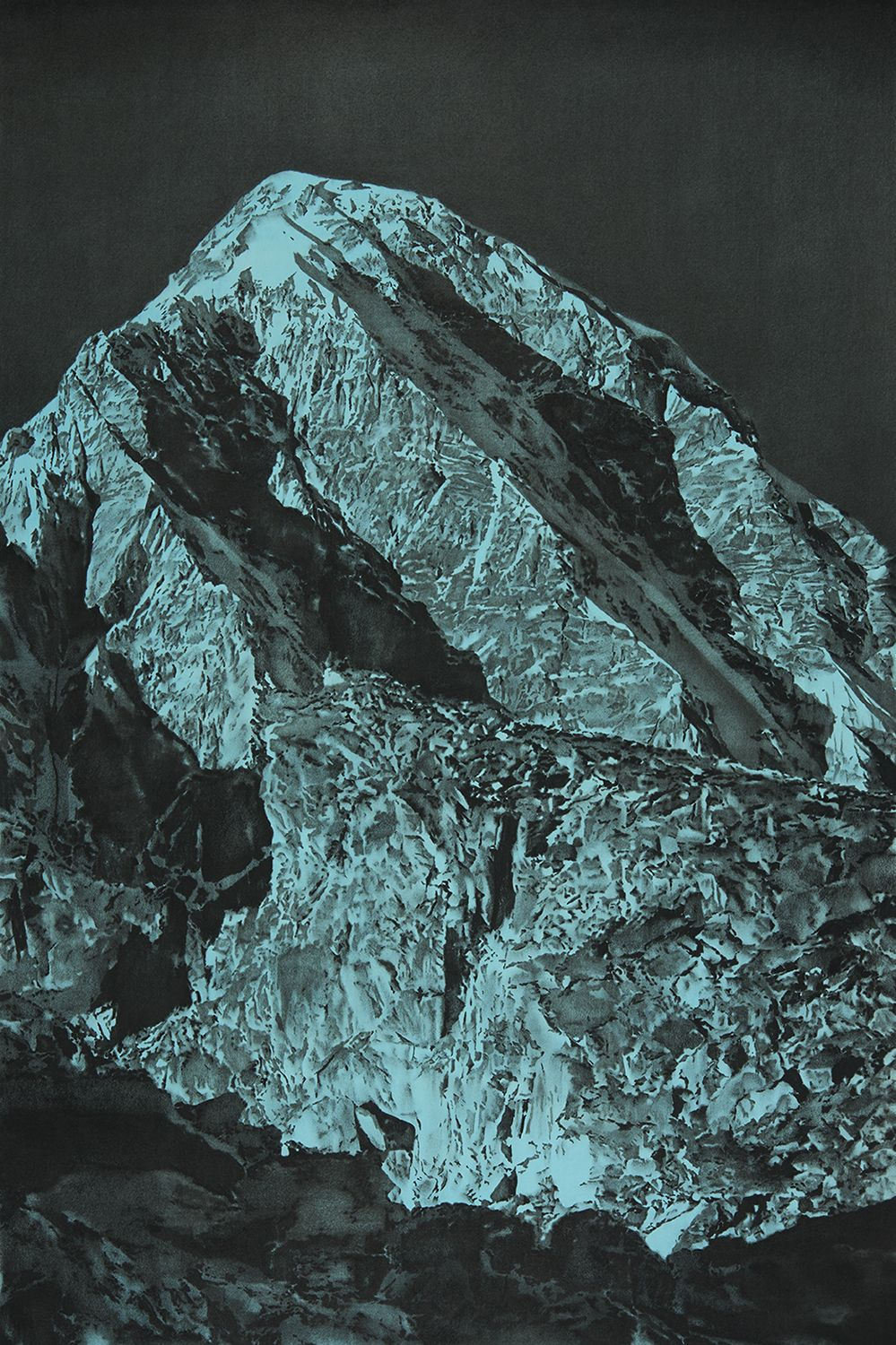 A highly-detailed drawing of Mt. Everest in black on an electric blue background.