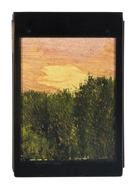 Dark Sunset Oil on Polaroid film cartridge backing paper, 3 7/8 x 3 1/4 in.