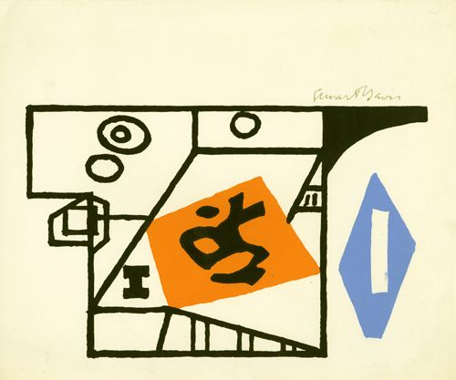 Ivy League, about 1955, Color screenprint, 7 1/2 x 9 in.